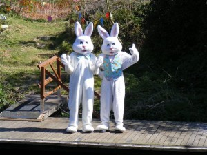 Easter bunnies welcome visitors