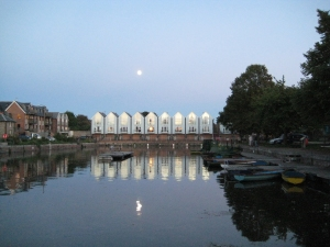 Moonlit canal basin
