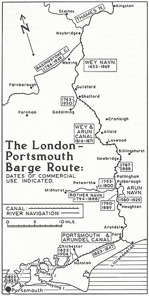 London to Portsmouth Barge Route