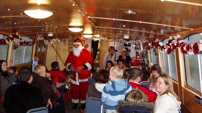 Father Christmas onboard canal boat Richmond