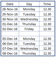 Time table 1